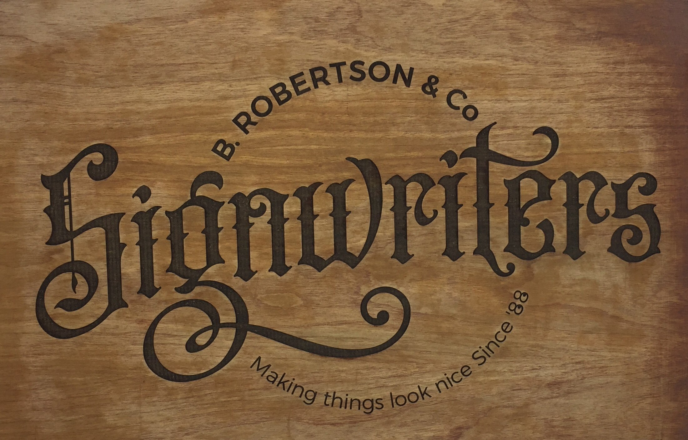 Laser engraved wood for Robertson Signs