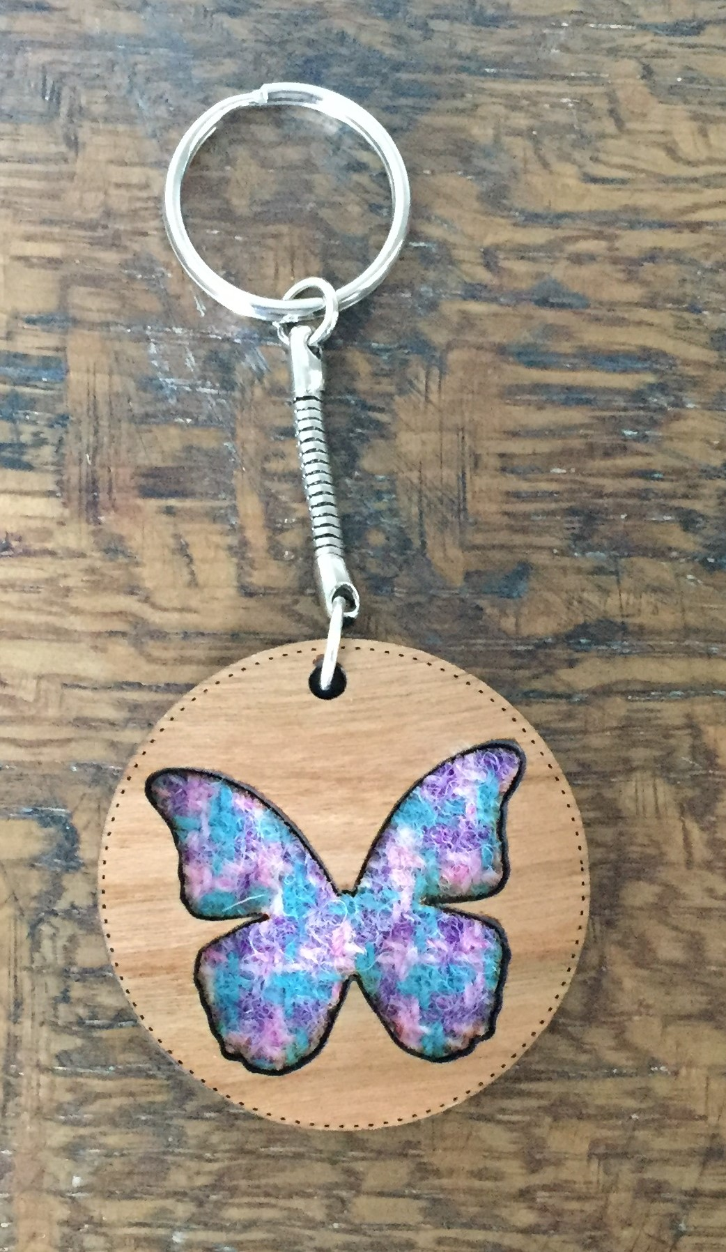 Wooden keyring with butterfly Harris Tweed insert