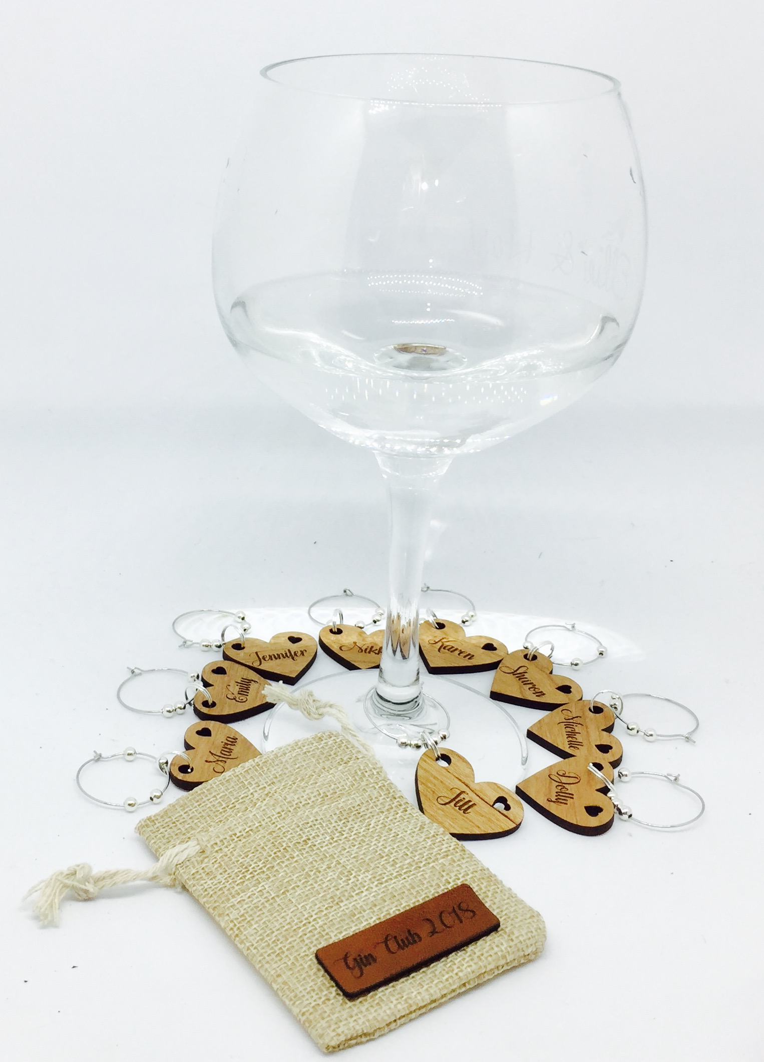 Laser engraved gin glass charms pouch
