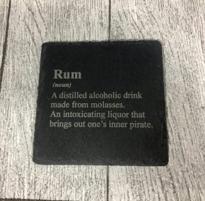 laser engraved rum coaster