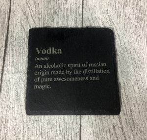 laser engraved vodka coaster