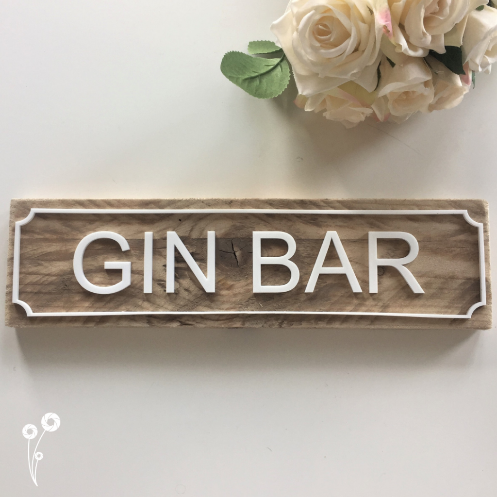 Ellie & Hart - Pallet wood and acrylic gin bar sign plaque