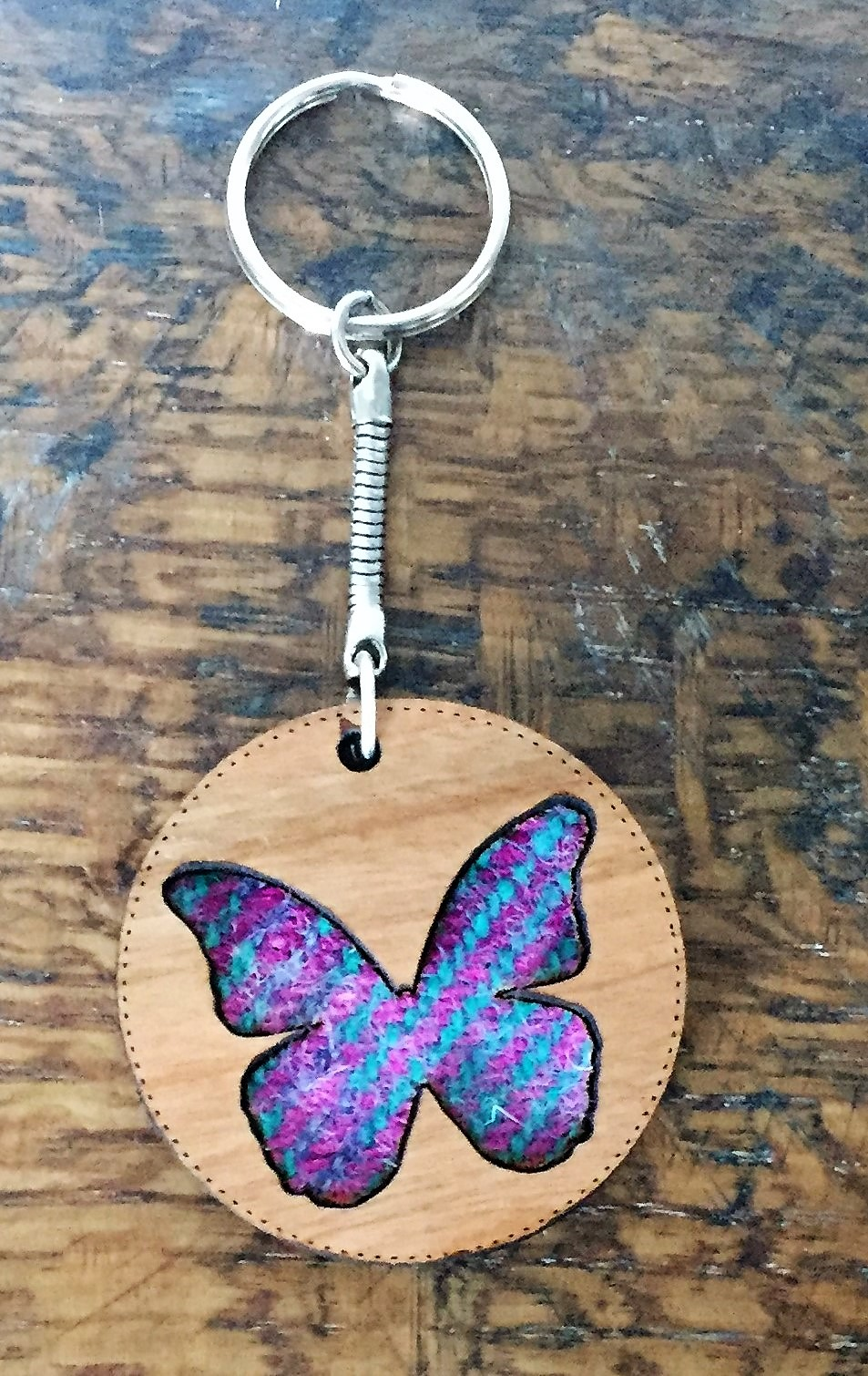 Wooden Key Ring with Harris Tweed - Butterfly Key Ring