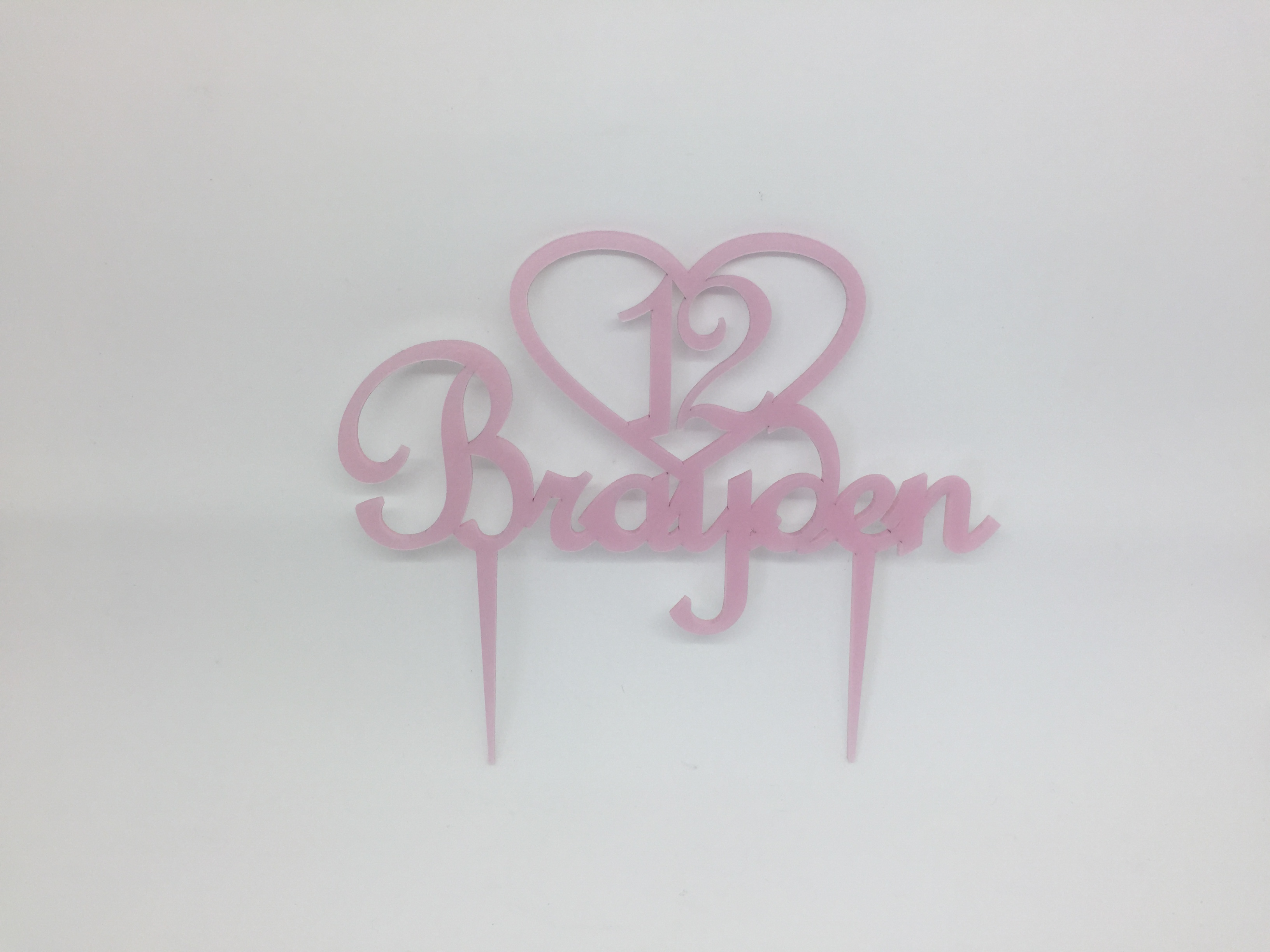 Cake topper - acrylic cake topper - 12th birthday - birthday cake topper - pink