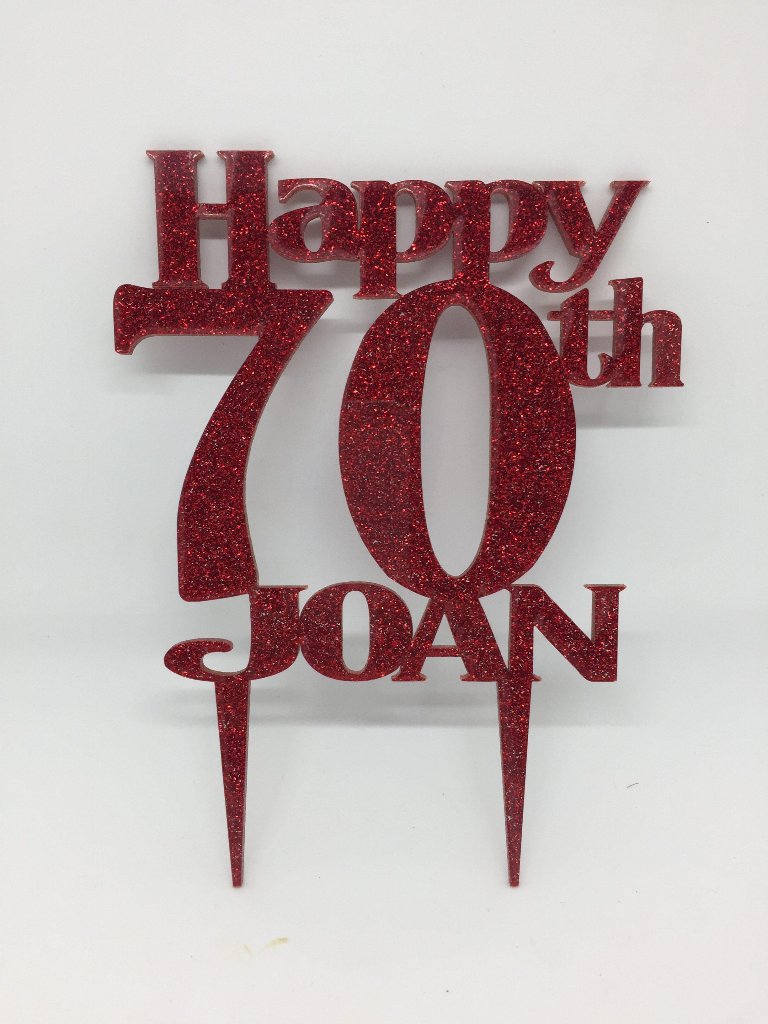 Cake topper - acrylic cake topper - 70th birthday - birthday cake topper