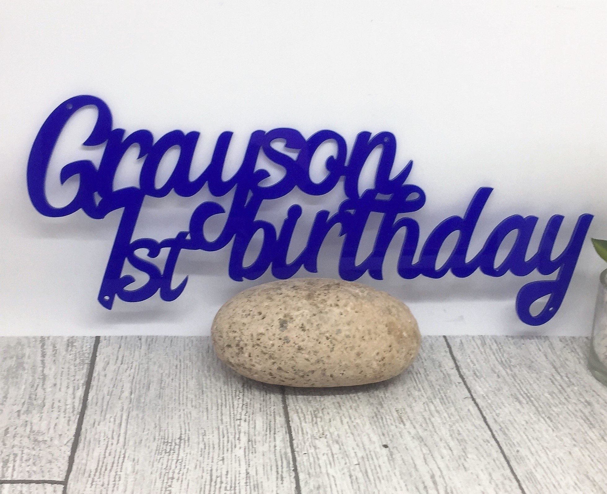 Cake topper - acrylic sign - 1st birthday - birthday name sign