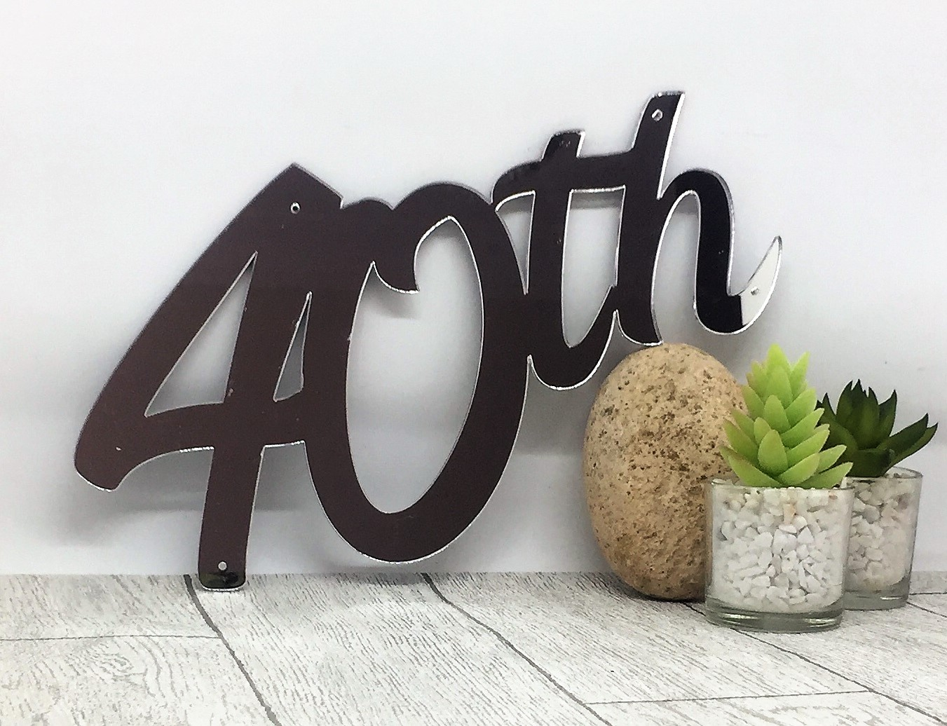 Cake topper - mirrored acrylic sign - 40th birthday - birthday sign
