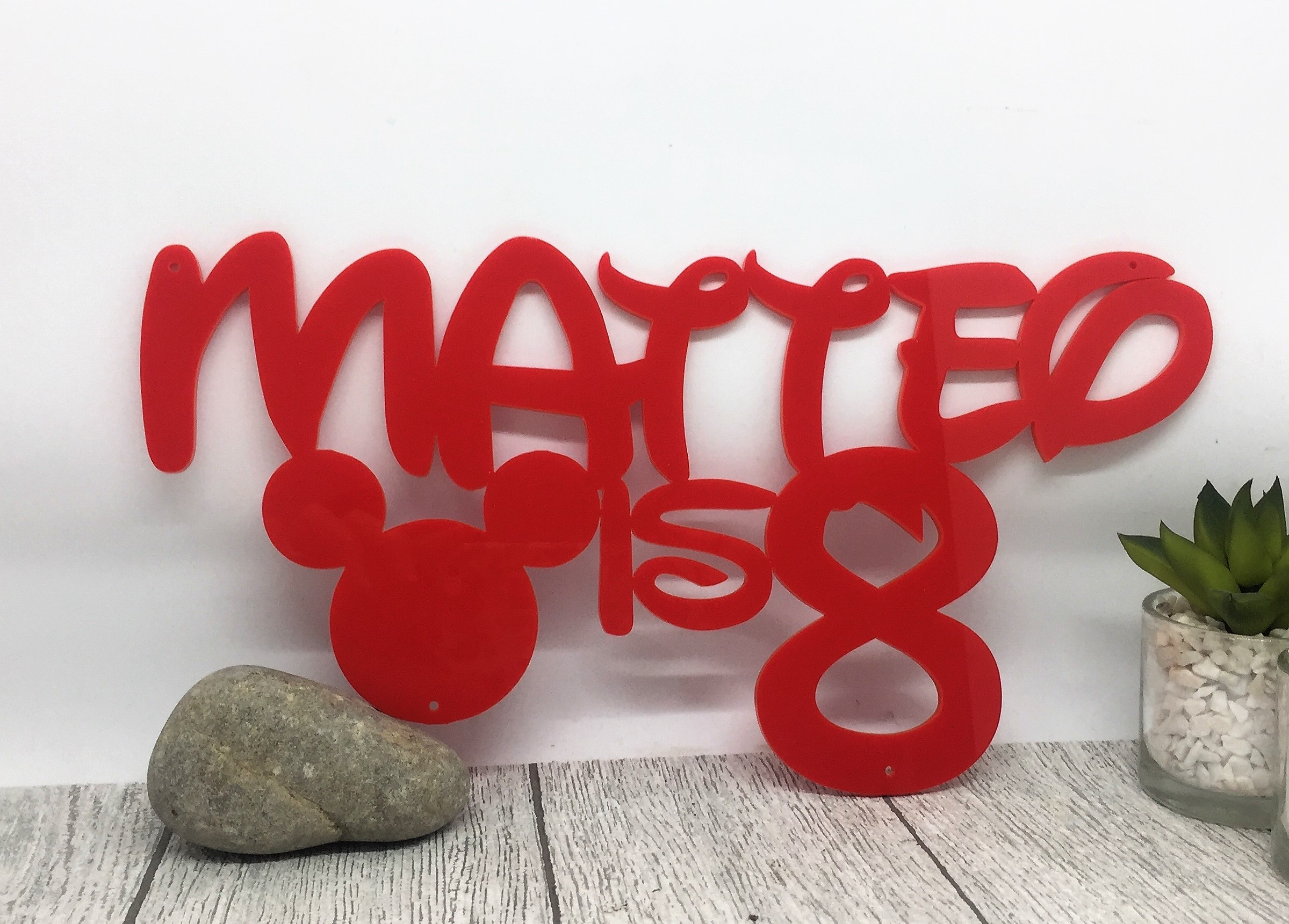 Cake topper - mirrored acrylic sign - 8th birthday - birthday name sign - Disney sign