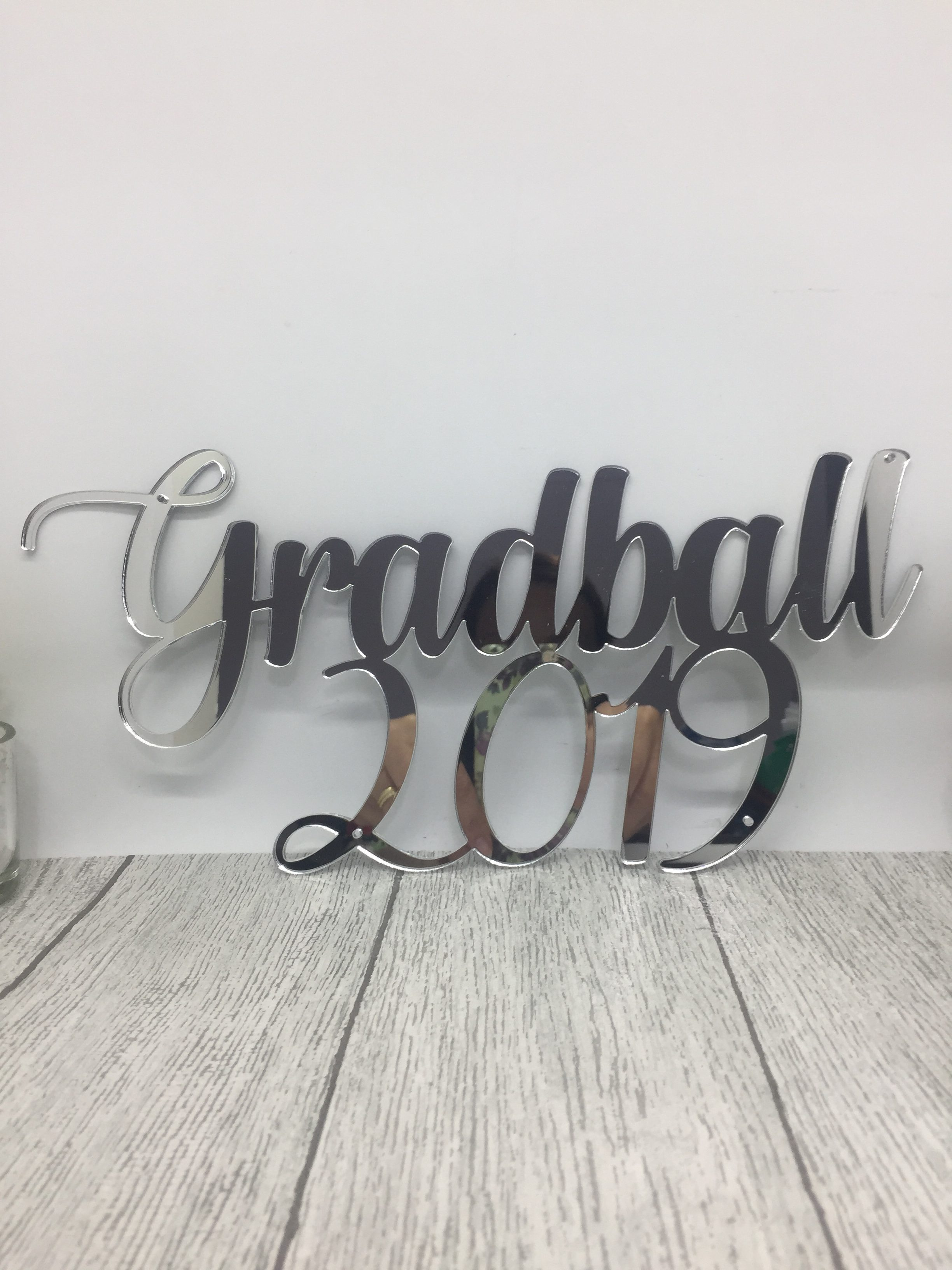 Cake topper - mirrored acrylic sign - graduation ball - acrylic name sign