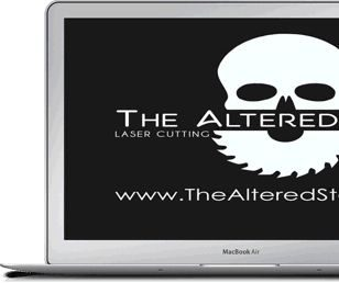 The Altered State laser cutting and engraving logo - skull saw - Laptop view