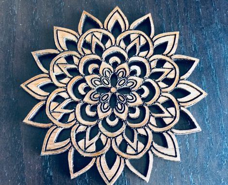 Walnut Wood Laser Cut & Engraved Mandala Brooch